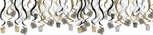 Black, Gold & Silver New Year's Swirl Decorations 30ct