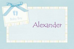 Custom Baby Soft Blue Baby Shower Thank You Notes