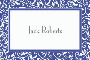 Custom Royal Blue Ornamental Scroll Thank You Notes