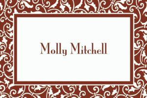 Custom Chocolate Brown Ornamental Scroll Thank You Notes