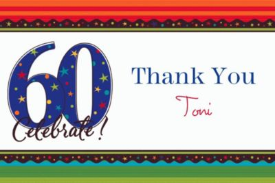 Custom A Year to Celebrate 60th Thank You Notes