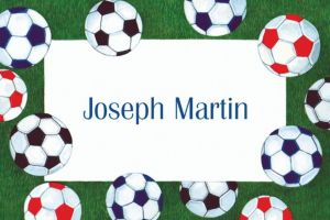 Custom Soccer Ball Border Thank You Notes