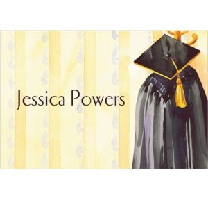 Custom Black Gown Graduation Thank You Notes