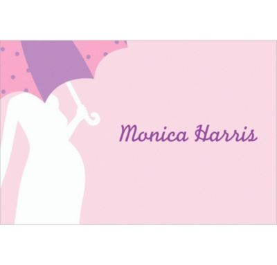 Custom Mommy with Umbrella Pink Baby Shower Thank You Notes