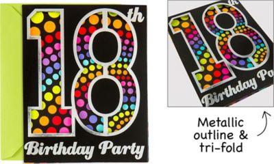 Happy 18th Birthday Invitations 8ct