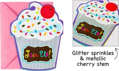 Large Cupcake Invitations 8ct