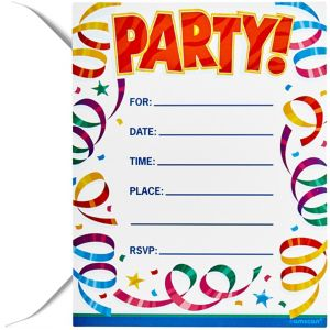 Party Streamers Postcard Invitations 8ct