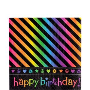 Neon Birthday Lunch Napkins 16ct