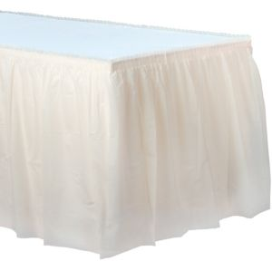 Vanilla Cream Plastic Table Skirt