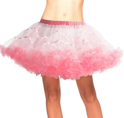Adult White and Light Pink Tulle Petticoat