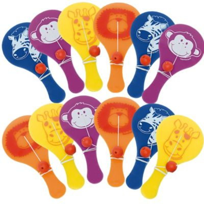 Jungle Animals Paddle Balls 12ct
