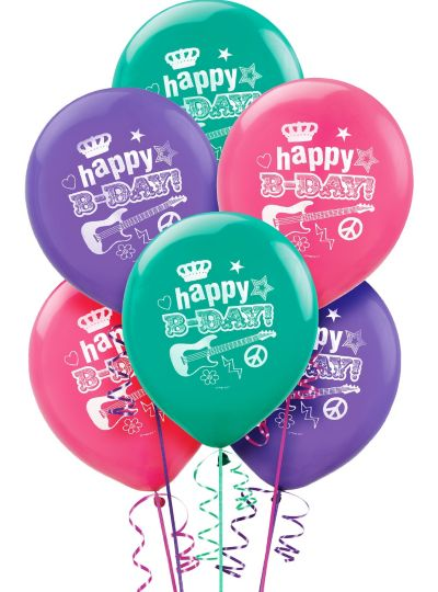 Happy Birthday Balloons 6ct - Rocker Girl
