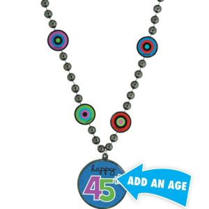 Blue Dots & Stripes Personalized Bead Necklace