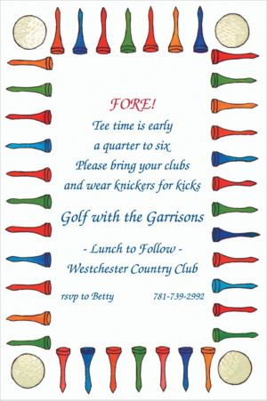 Custom Golf Tee Border Invitations