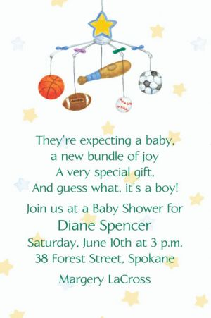 Custom Sporty Mobile Baby Shower Invitations