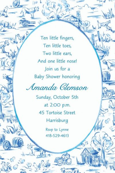 Custom Old MacDonald Toile Baby Shower Invitations