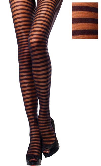 Adult Black Striped Pantyhose