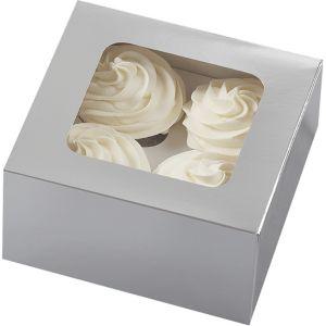 Silver Cupcake Boxes 3ct