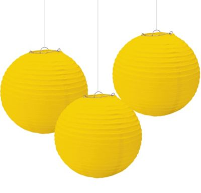 Yellow Paper Lanterns 9 1/2in 3ct