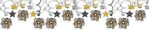 Hollywood Stars Hanging Swirl Decorations 30ct