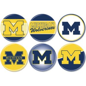 Michigan Wolverines Buttons 6ct