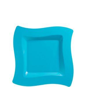 Caribbean Blue Premium Plastic Wavy Square Dessert Plates 10ct