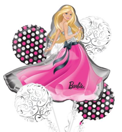 Barbie Balloon Bouquet 5pc - Glamour