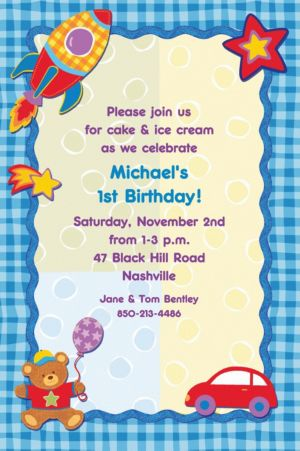 Custom Hugs & Stitches Boy Birthday Invitations