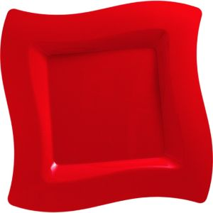 Red Premium Plastic Wavy Square Dinner Plates 10ct