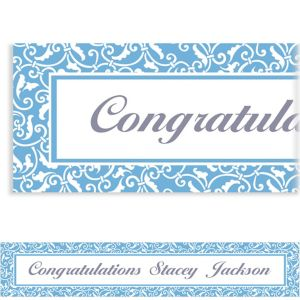 Custom Pastel Blue Ornamental Scroll Banner 6ft