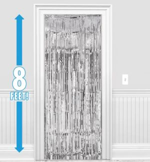 Silver Fringe Doorway Curtain 3ft X 8ft Party City