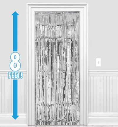 Silver Doorway Curtain 3ft X 8ft Party City