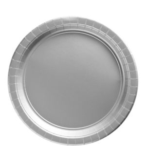 Big Party Pack Silver Paper Lunch Plates 50ct