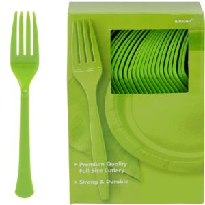 Big Party Pack Kiwi Green Premium Plastic Forks 100ct