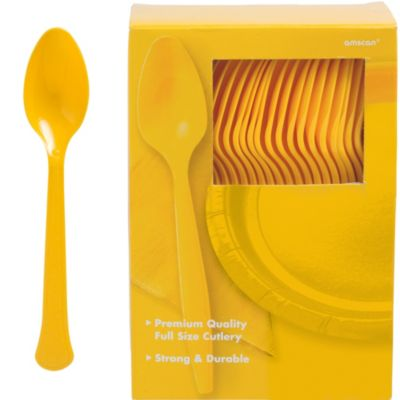 Sunshine Yellow Premium Plastic Spoons 100ct