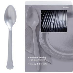 Big Party Pack Silver Premium Plastic Spoons 100ct