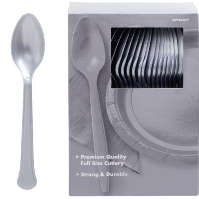 Silver Premium Plastic Spoons 100ct