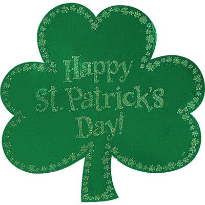 Glitter Happy St. Patrick's Day Shamrock Cutout