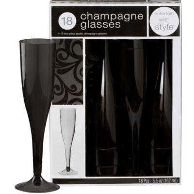 Black Premium Plastic Champagne Flutes 18ct