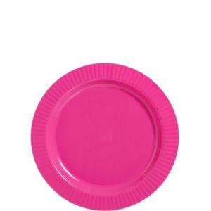 Bright Pink Premium Plastic Dessert Plates 32ct