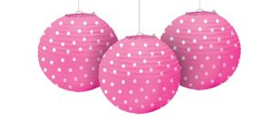 Bright Pink Polka Dot Paper Lanterns 3ct