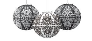 Black & White Damask Paper Lanterns 3ct