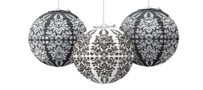 Black & White Paper Lanterns 9in 3ct