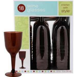 Chocolate Brown Premium Plastic Wine Glasses 18ct