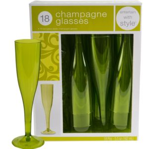 Avocado Premium Plastic Champagne Flutes 18ct