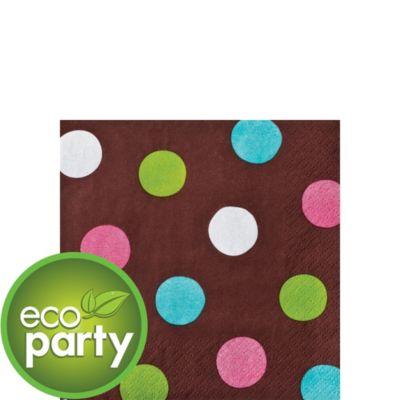 Chocolate & Dots Polka Dot Beverage Napkins 36ct