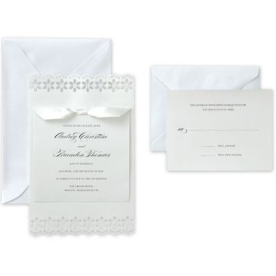 White Flower Printable Wedding Invitations Kit 50ct
