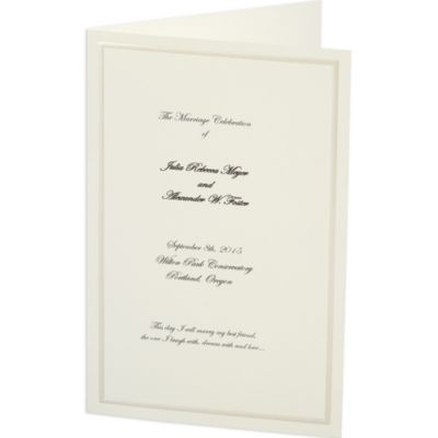 Ivory with Pearlized Border Bi-Fold Printable Wedding Programs 50ct