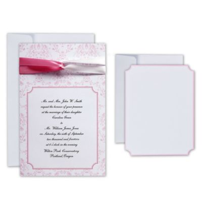 Pink Ribbon Printable Wedding Invitations Kit 25ct