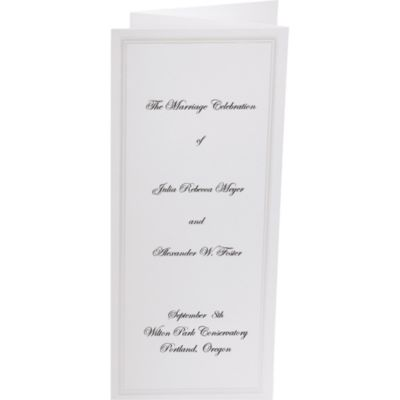 White with Pearlized Border Tri-Fold Printable Wedding Programs 50ct